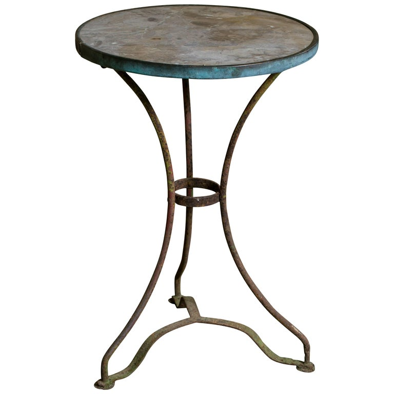 Marble Bistro Accent Table: Antique French Marble-Top Bistro Table On Iron Base, Circa