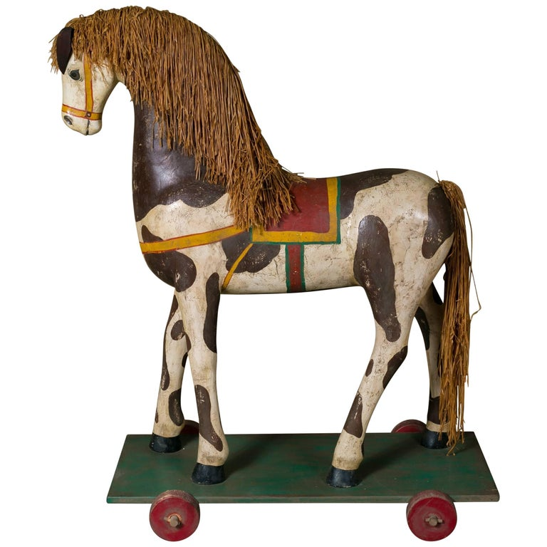 Life-Sized Vintage Painted Paper Mache Pony on Wheels 1