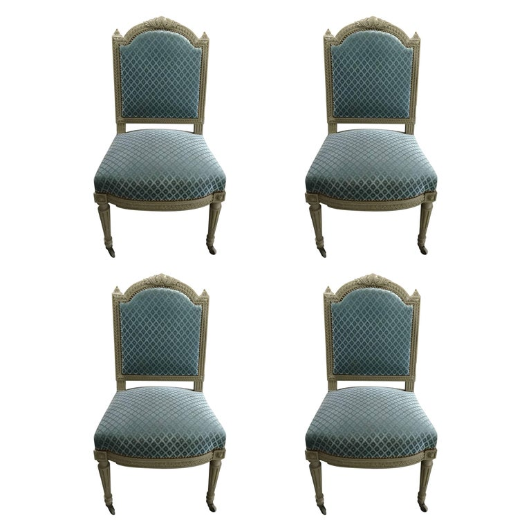 Pretty Set of Four Louis XVI Style Carved Painted Wood and Velvet Dining Chairs