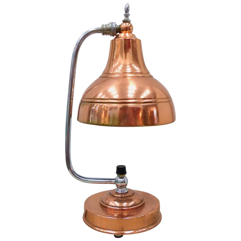 Markel Art Deco Copper and Chrome Lamp