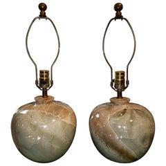 Pair of Midcentury Marble Glazed Ceramic Lamps