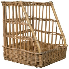 French Wicker Baguette Basket, circa 1960