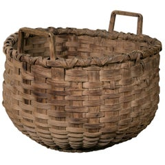 Large Antique Round Woven Wood Basket with Square Handles, circa 1910