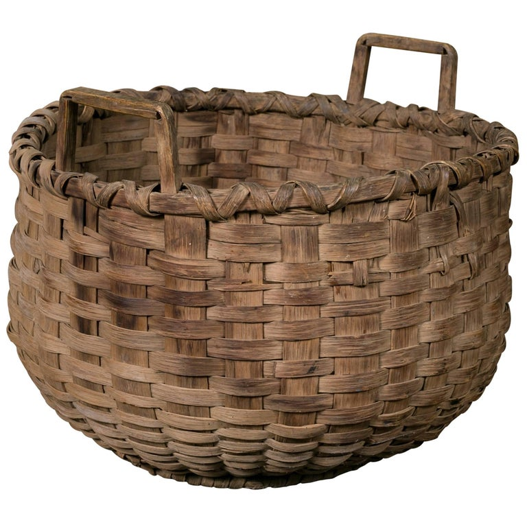 Large Antique Round Woven Wood Basket with Square Handles, circa 1910 For Sale