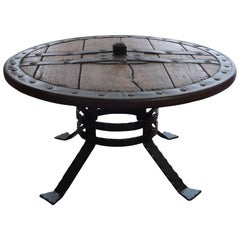 Medieval Forged Iron and Hardwood Wagon or Chariot Wheel Coffee Table