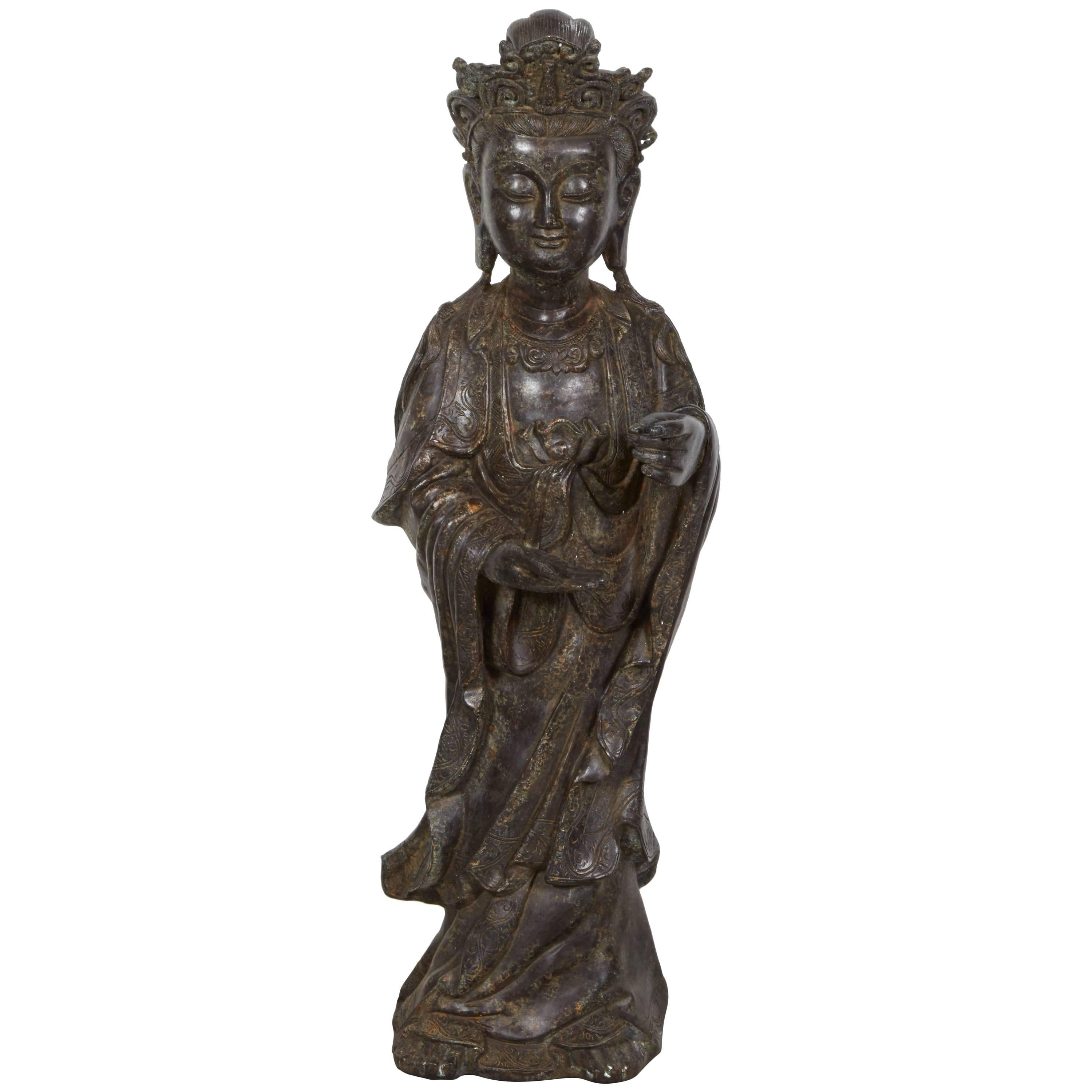Standing Antique Bronze Buddha Sculpture with Crown and Elaborate Flowing Robes