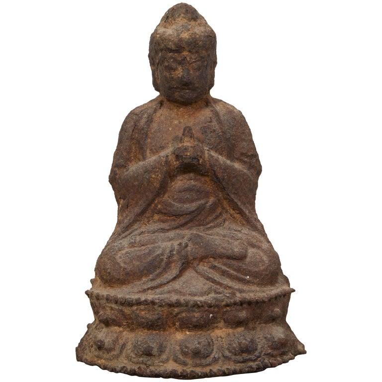 19th Century Cast Iron Chinese Buddha