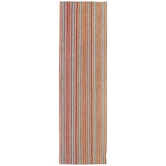 Very Long Kilim Runner with Vertical Stripe and Geometric Pattern