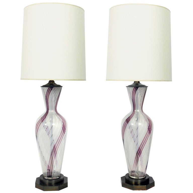 Pair of Large Scale Murano Glass Lamps