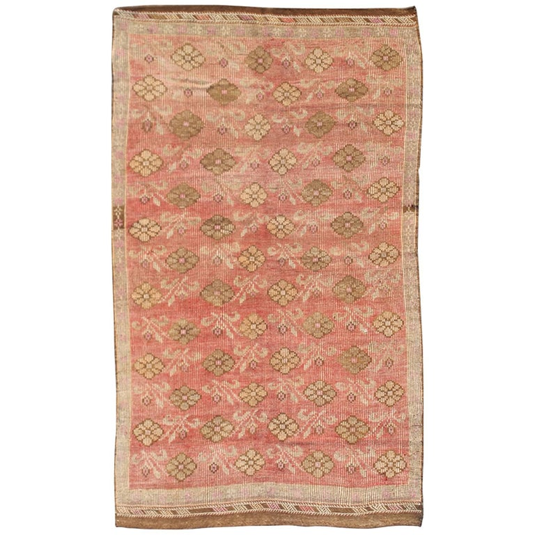 Pink Background Vintage Embroidered Kilim Rug With All