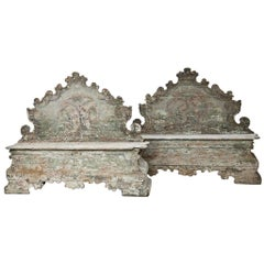 18th Century, Pair of Baroque Cassapanche Wooden Storage Benches