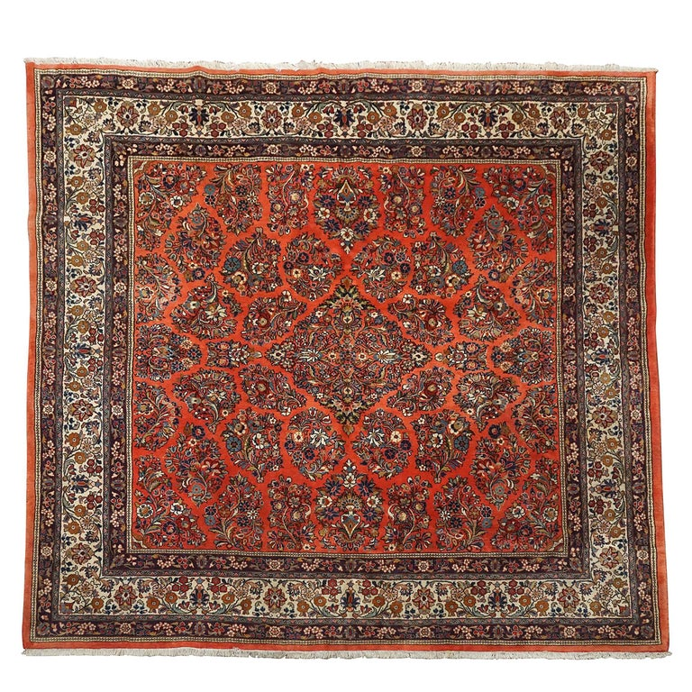 Square Antique Persian Sarouk Rug Circa 1930 For Sale At