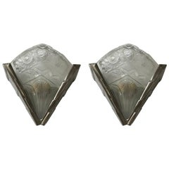 Pair of French Art Deco Wall Sconces Having Geometric Motif by Noverdy