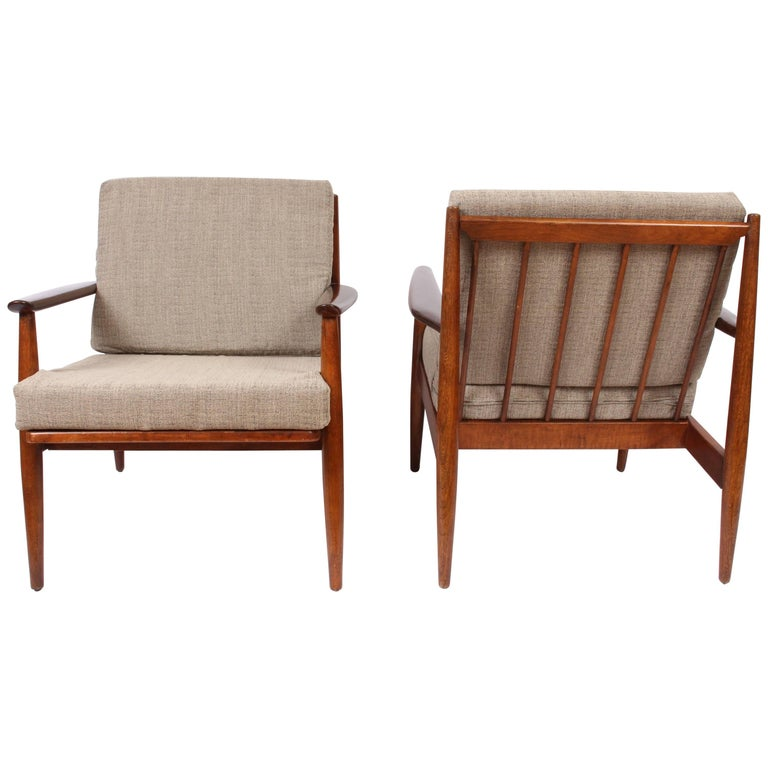 Pair of Baumritter American Danish Solid Walnut Lounge Chairs, 1950s