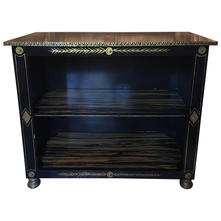 Black Painted Etagere with Gold Accents by Bob Christian, 20th Century