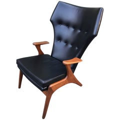 Kurt Ostervig Wingback Leather Lounge Chair