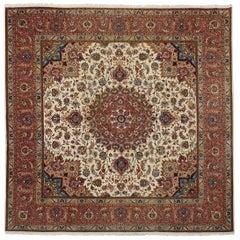 Square Wool and Silk Persian Tabriz Rug, circa 1970