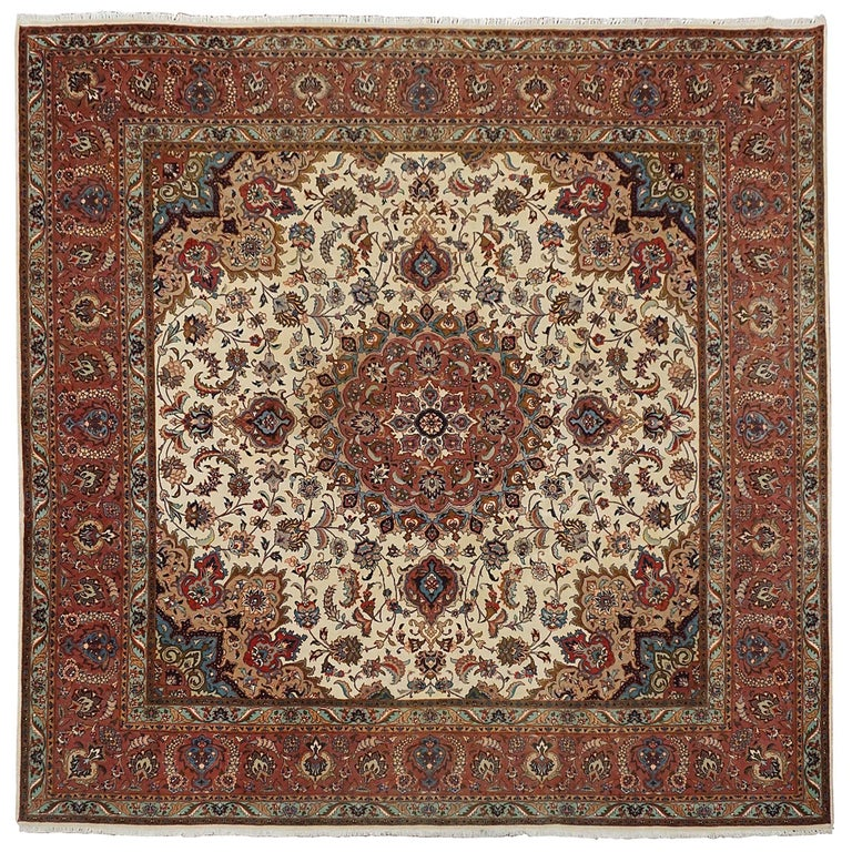 Royal Border Oriental Rug By Rug Culture: Square Wool And Silk Persian Tabriz Rug, Circa 1970 For