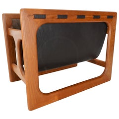 Danish Modern Salin Mobler Teak and Leather Magazine Rack
