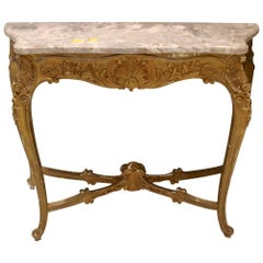 Antique French Gilded Console with Marble Top