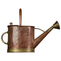 Edwardian English Copper and Brass Banded Watering Can