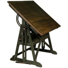 Antique Industrial Architect's Tilt Top Drafting Table from Belgium, circa 1900