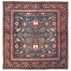 Antique Square Indian Agra Rug, circa 1890