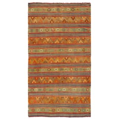 Large, Colorful Turkish Kilim Rug with Stripes and Geometric Elements