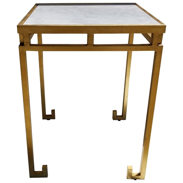 Marble-Top Gold Leaf Iron Cocktail Table For Sale