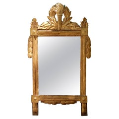 Beautiful 18th Century Carved French Gilt Mirror with Flaming Torch and Laurel