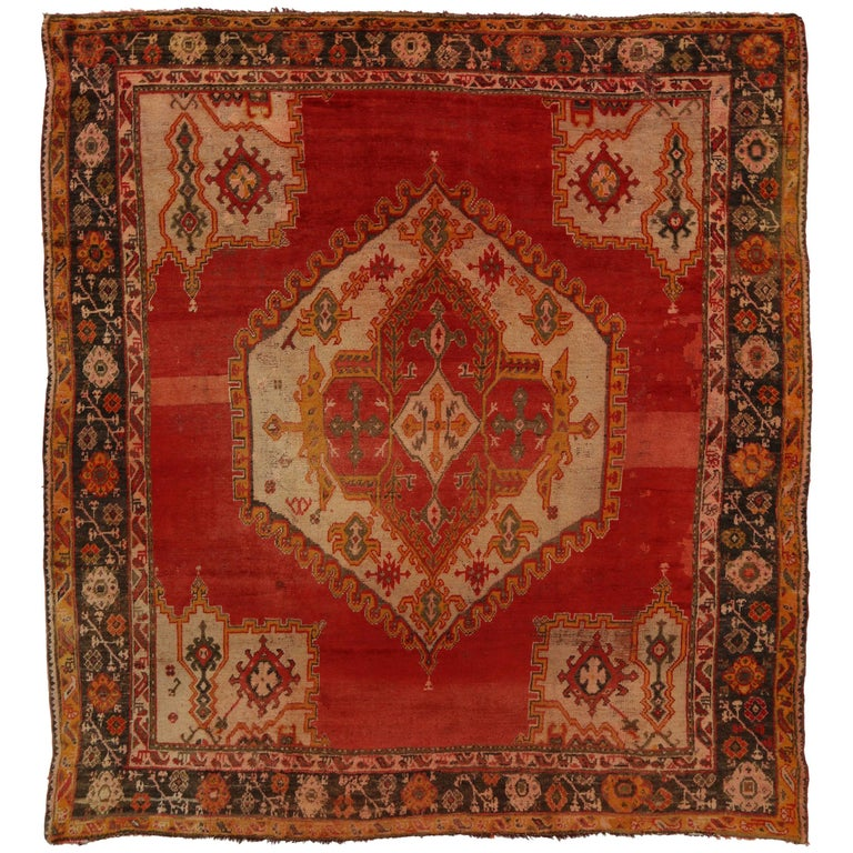 Modern Rugs Vintage: Antique Turkish Oushak Rug With Modern Style For Sale At