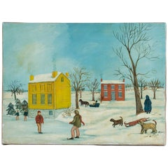 Original Snow Scene Painting on Canvas by American Folk Artist Lew Hudnall