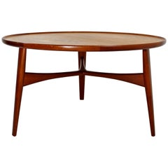 Mid-Century Modern Round Danish Teak Coffee Table by Madsen and Larsen for Beck
