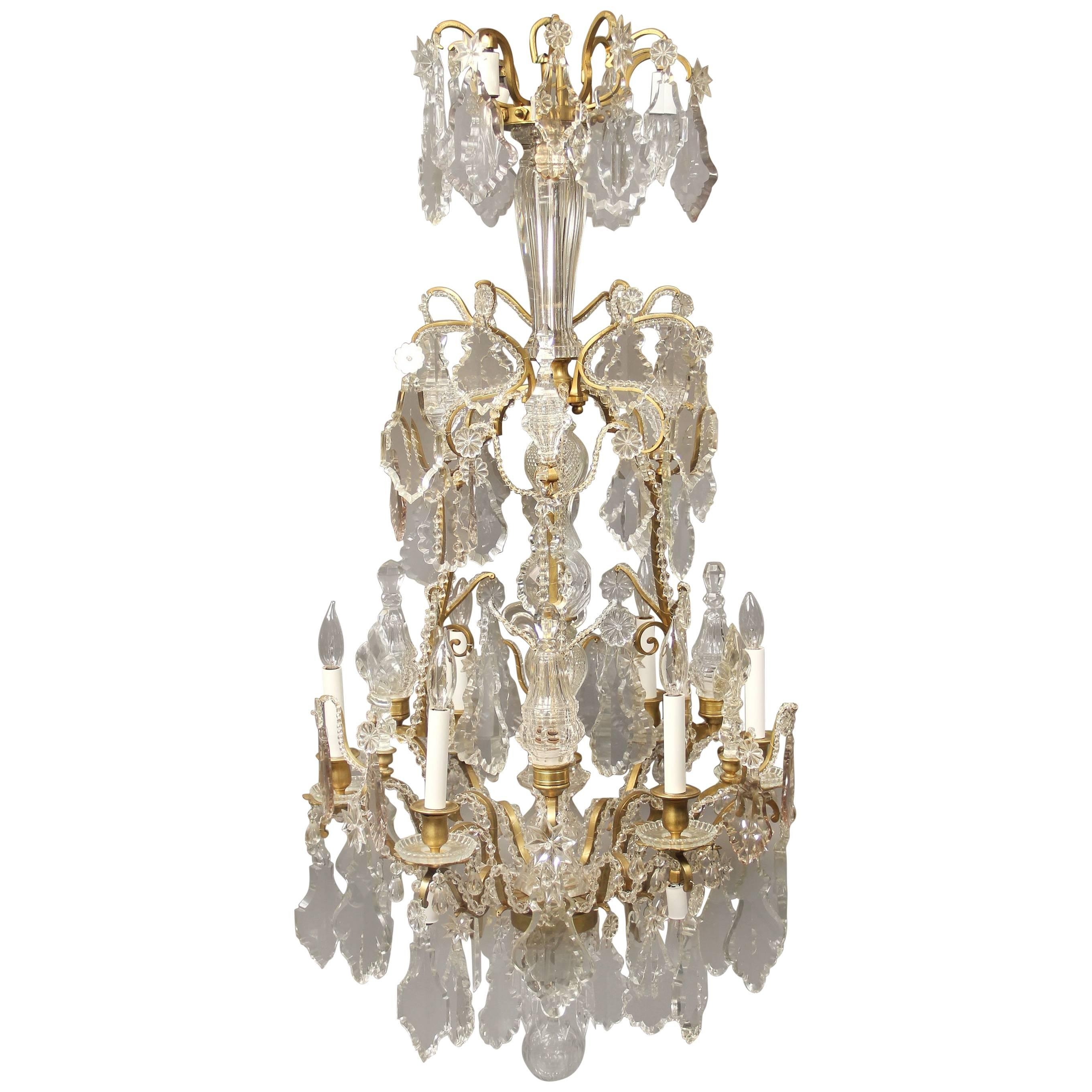 Elegant Late 19th Century Gilt Bronze and Baccarat Crystal Chandelier