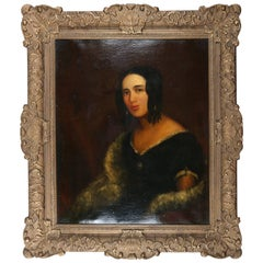 Antique and Fine Spanish School Oil on Canvas Portrait Painting of Young Woman