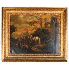 Antique Oil on Tin Painting Depicting European Conquest Celebration Scene