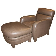 Contemporary Donghia Leather Lounge Chair and Ottoman