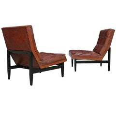 Pair of Leather Lounge Chairs by Camacho Roldan & Artecto Colombia