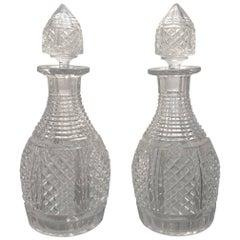 Pair of English Georgian Cut-Glass Decanters