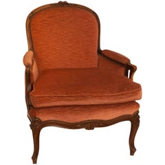 Second Empire  Walnut Louis XV Style Bergere Chair, France, circa 1890