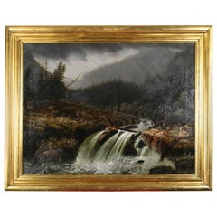 Antique Hudson River School Oil on Canvas Landscape with Waterfall Painting