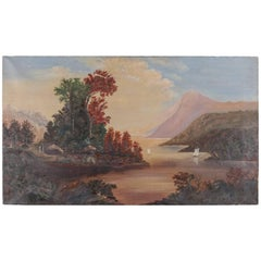 Antique Hudson River School Oil on Canvas Landscape with Lake Painting