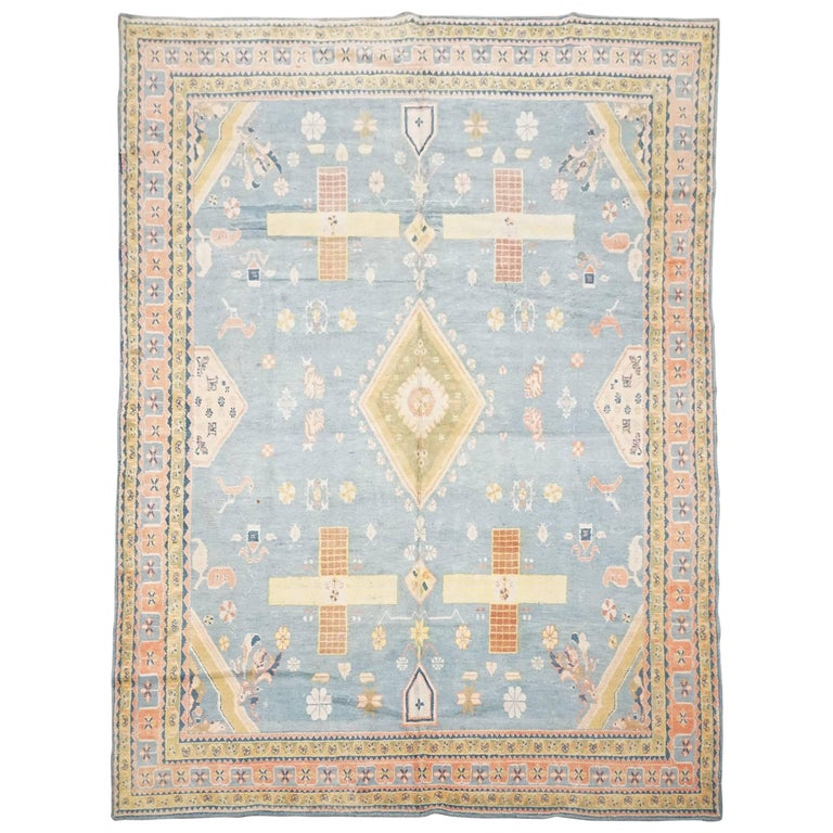 Antique Cotton Agra Rug With Abrash Circa 1900 For Sale: Antique Cotton Indian Agra Rug With Bird Motif, Circa 1900