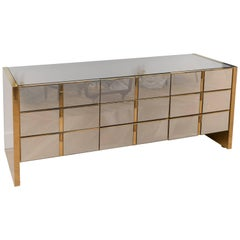 Ello Furniture Co Brass and Mirrored Brass Nine-Drawer Dresser