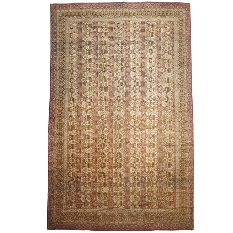 Antique Cotton Agra Rug With Abrash Circa 1900 For Sale: Antique Indian Agra Rug, Circa 1890 For Sale At 1stdibs
