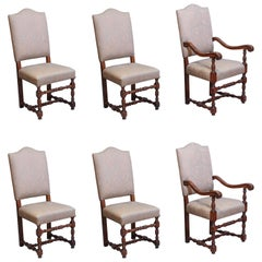 Set of Eight French Louis III-Style Walnut Dining Chairs Upholstered in Fortuny