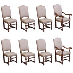 Set of Eight French Louis XIV-Style Walnut Dining Chairs Upholstered in Fortuny