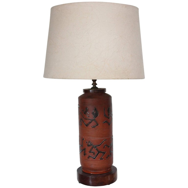 Rust Red Ceramic Table Lamp with Primitive Motif