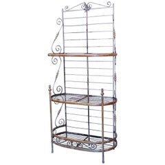 Narrow Wrought Iron and Brass Baker's Rack