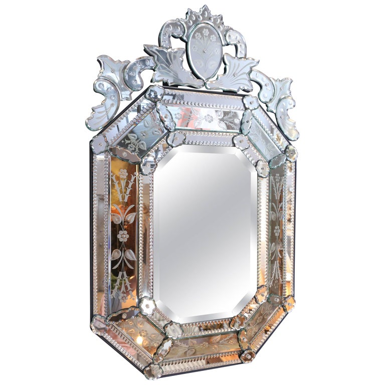 Vintage Venetian Octagonal Paneled Mirror